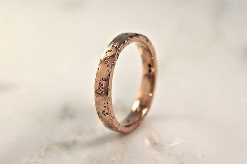9ct Thin Rose Gold Sand Cast Textured, Flat Wedding Ring.