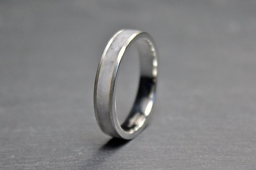 Marble and Silver Ring, White Ring 4mm.