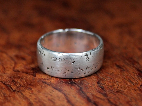 Rustic Sand Cast Silver Ring.