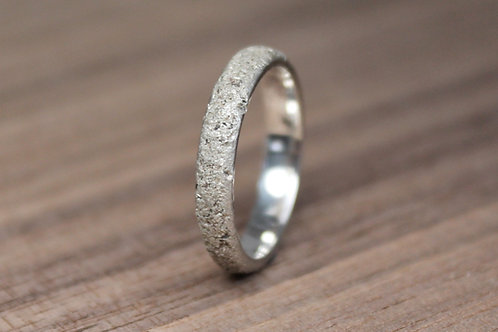 Thin Concrete Silver Ring
