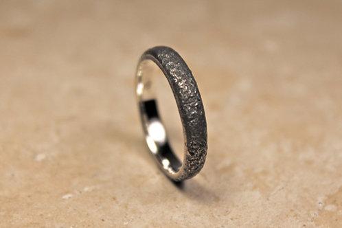 Thin Black Silver Ring