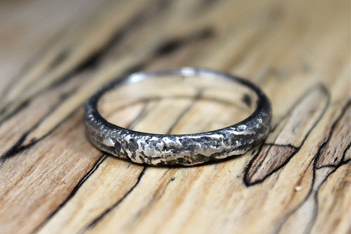 Thin Black Mountain Silver Ring