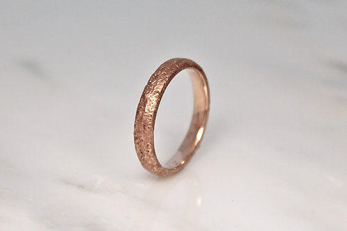 18ct Sand Cast Ring, Slim Rustic Rose Wedding Band.