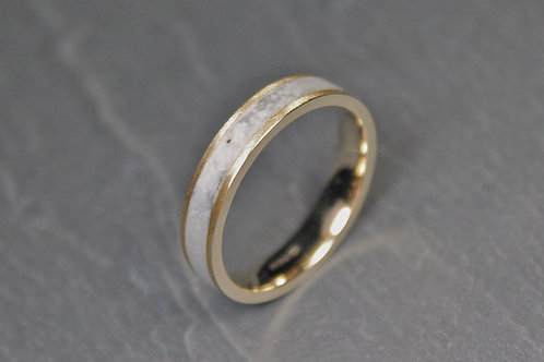 Marble and Gold 9ct Ring, White Stone Band.