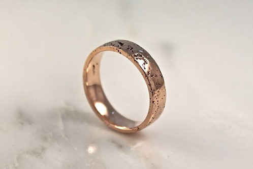 9ct Rose Gold Sand Cast Textured, Flat Wedding Ring.