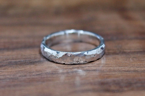 Thin Hand Hammered Silver Ring