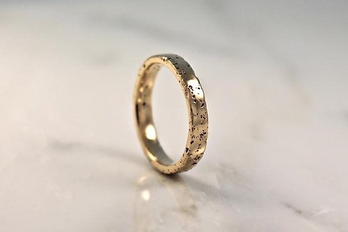 18ct Thin Yellow Gold Sand Cast Textured, Flat Wedding Ring.