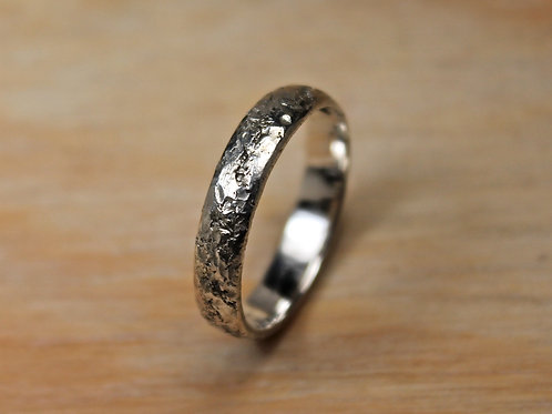 Thin Rustic Hammered Silver Ring