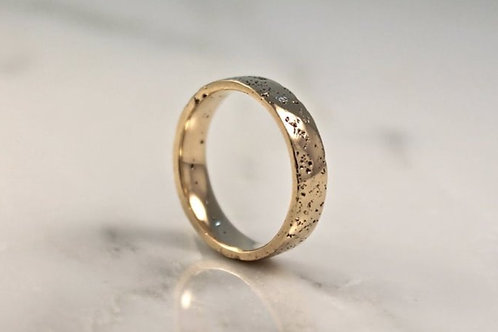 9ct Yellow Gold Sand Cast, Textured Wedding Ring, Flat.