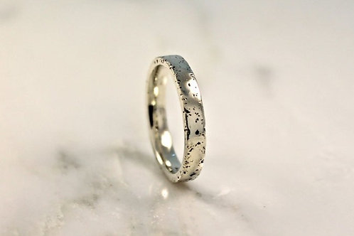 18ct Thin White Gold Sand Cast Textured, Flat Wedding Ring.
