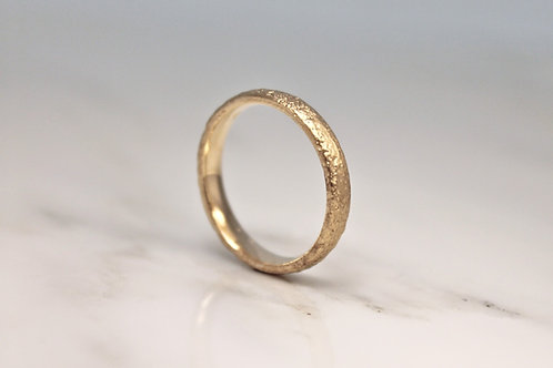 9ct Sand Cast Ring, Slim Rustic Yellow Wedding Band.