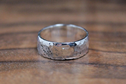Chunky Hand Hammered Silver Ring