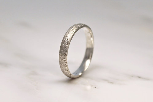 18ct Sand Cast Ring, Slim Rustic White Wedding Band.