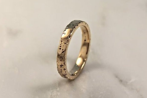 9ct Thin Yellow Gold Sand Cast Textured, Flat Wedding Ring.