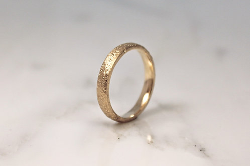 18ct Sand Cast Ring, Slim Rustic Yellow Wedding Band.