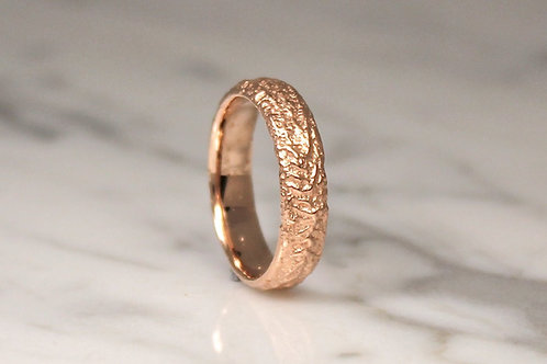 9ct Rose Gold Mountain Ring, Rustic Wedding Ring, 5mm.