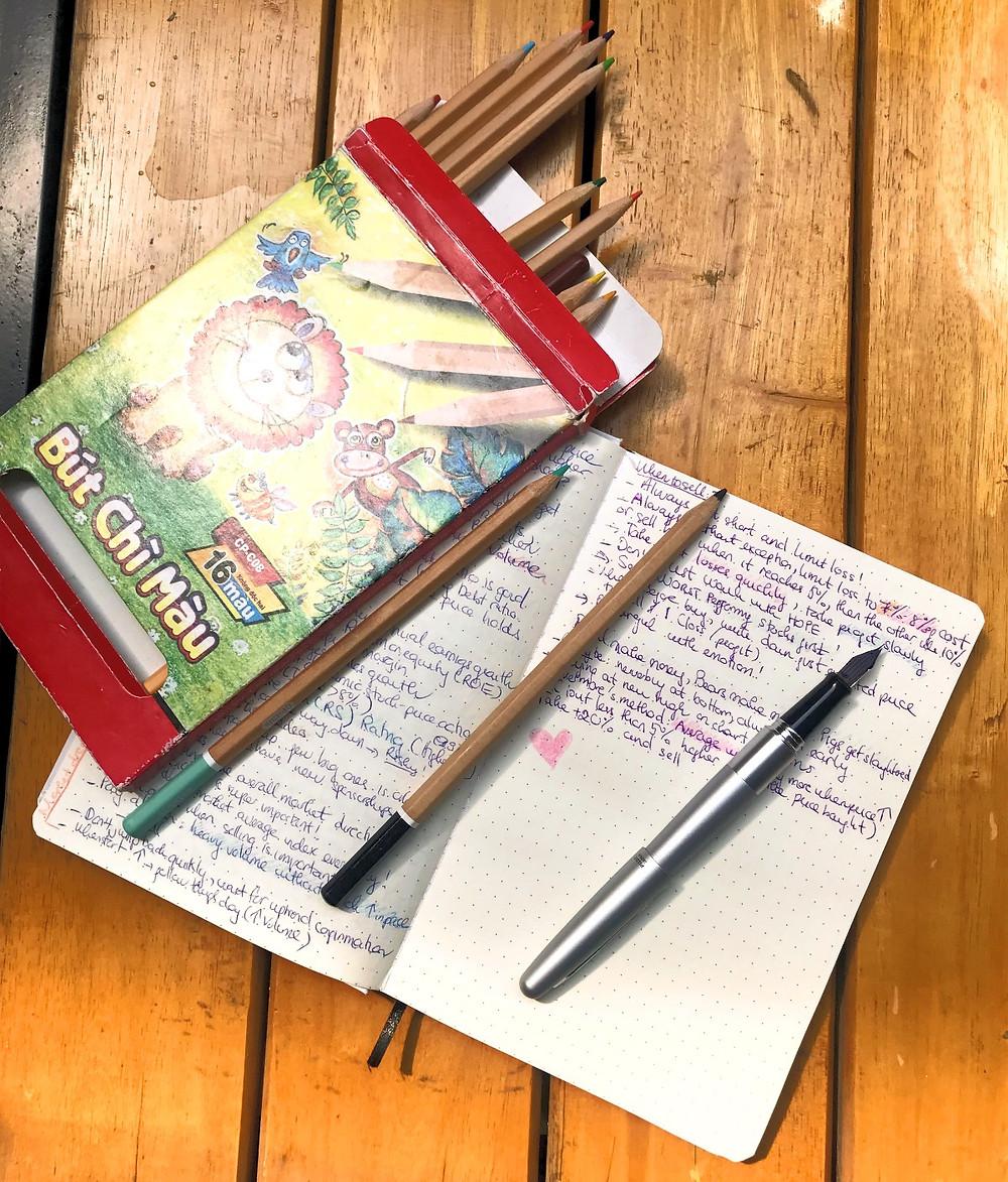 Fountain pens and colour pencils