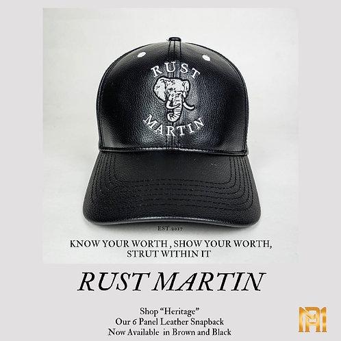 Rust Martin Leather Strapback 6 Panel Cap
