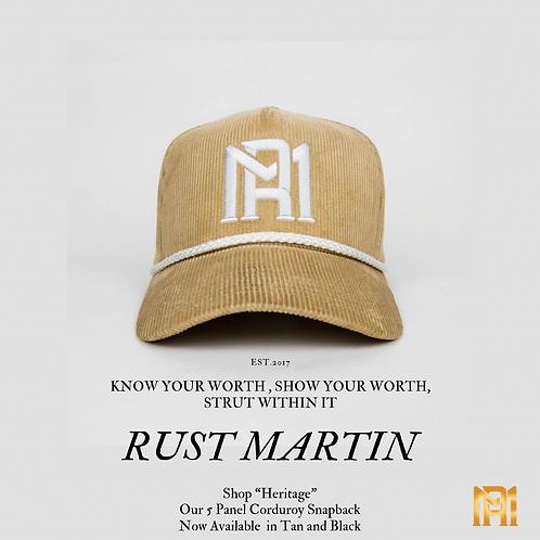 "Rust Martin ""Heritage"" 5 Panel Corduroy SnapBack Hat"