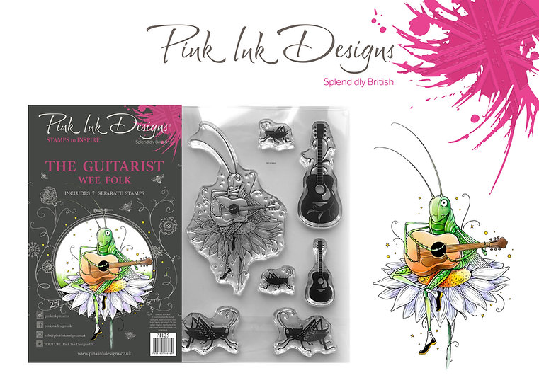Pink Ink Designs Stamp - The Guitarist + Dinky Pinky with 2 A6