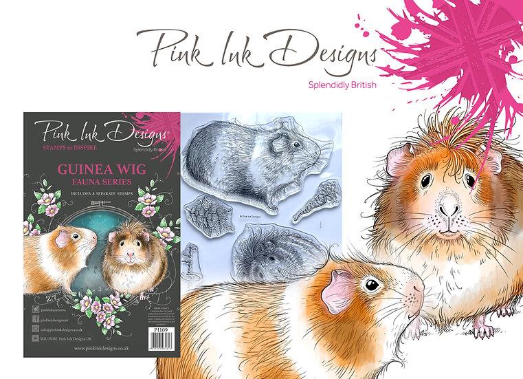 Pink Designs Stamp - Guinea Wig -  Plus Bonus Dinky Pinky