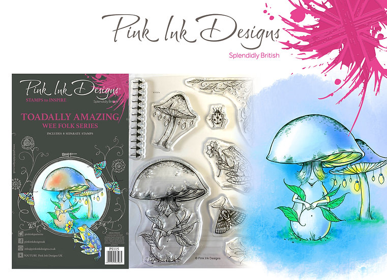 Pink Ink Designs Stamp - Toadally Amazing fungi + Dinky Pinky with 2 A6 stamps
