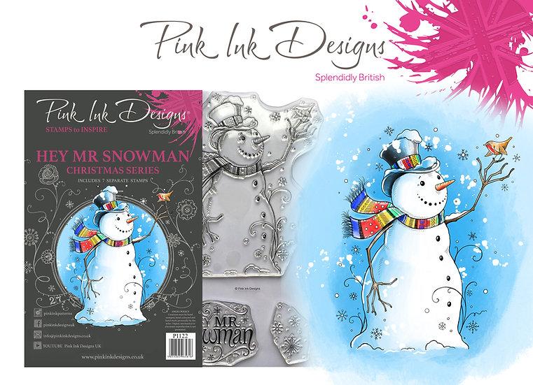 Pink Ink Designs Stamp - Hey Mr Snowman -  Plus Bonus Dinky Pinky
