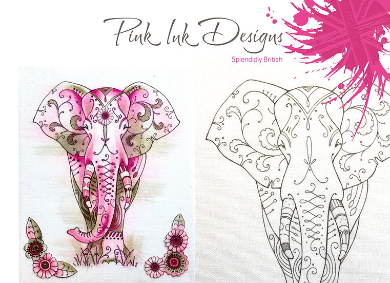 Pink Ink Designs Fabric Panels - 2D Elephant