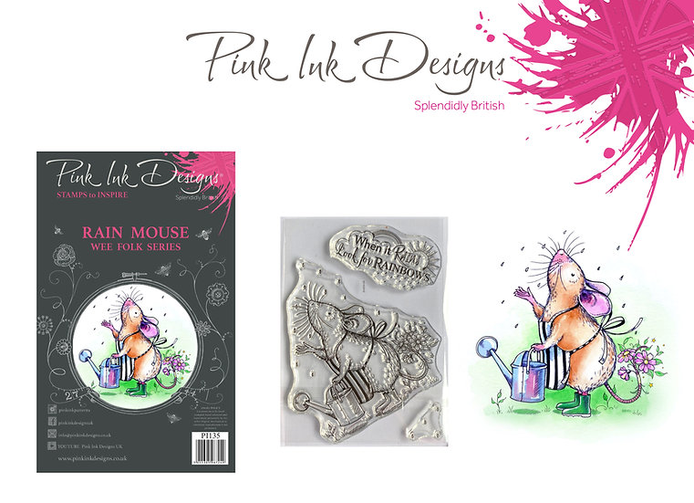 Pink Ink Designs Stamp - Rain Mouse - Buy 3 A7 stamps and get a Dinky Pinky