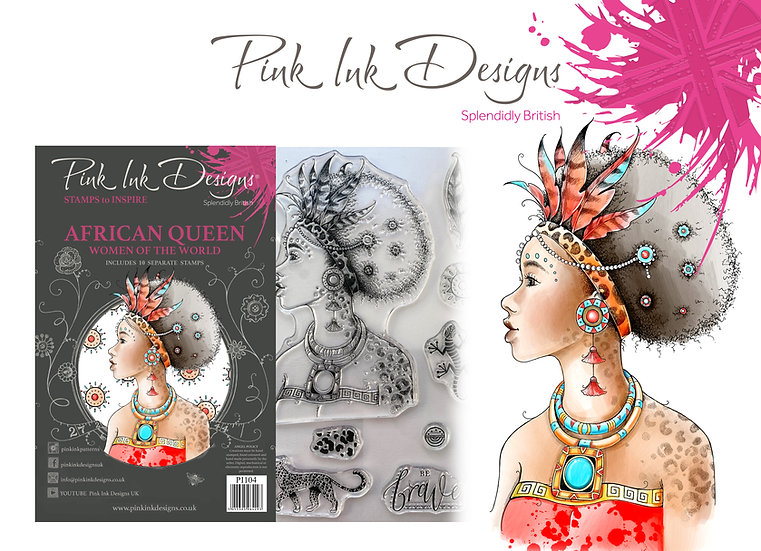 Pink Ink Designs Stamp - African Queen -  Plus Bonus Dinky Pinky