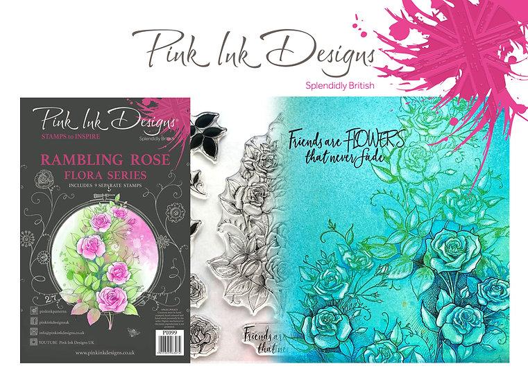 Pink Ink Designs Stamp - Rambling Rose -  Plus Bonus Dinky Pinky