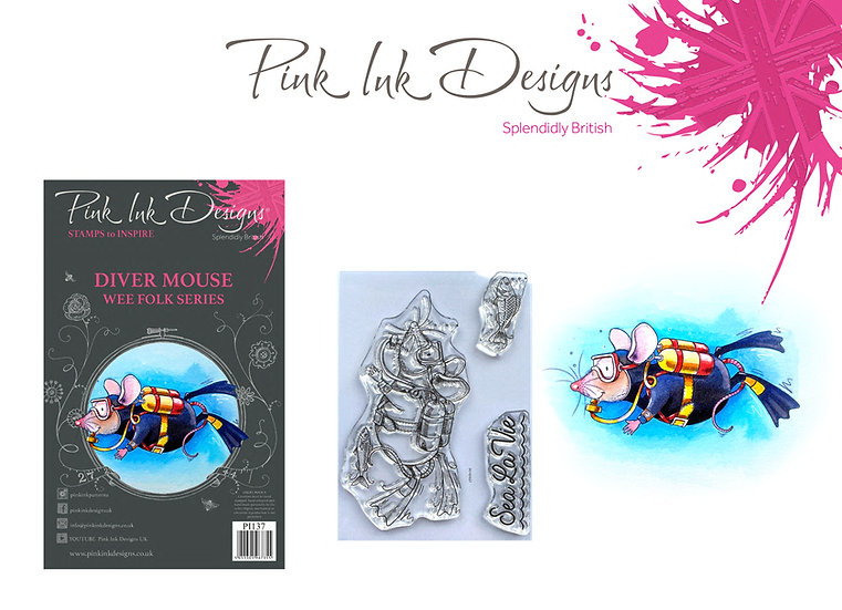 Pink Ink Designs Stamp - Diver Mouse - Buy 3 A7 stamps and get a Dinky Pinky