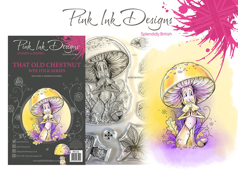 Pink Ink Designs Stamp - That Old Chestnut fungi  + Dinky Pinky with 2 A6 stamps