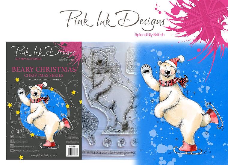 Pink Ink Designs Stamp - Beary Christmas -  Plus Bonus Dinky Pinky