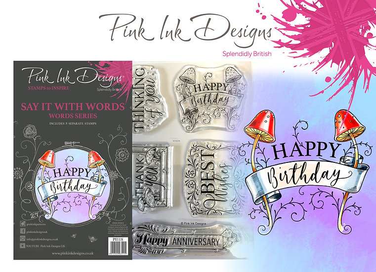 Pink Ink Designs Stamp - Say It With Words + Dinky Pinky with 2 A6 stamps