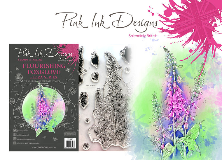 Pink Ink Designs Stamp - Flourishing Foxglove -  Plus Bonus Dinky Pinky Stamp