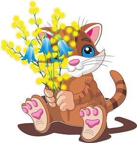 kitten-bouquet-spring-flowers-vector-ill