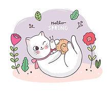 cartoon-cute-sweet-spring-white-cat-snai