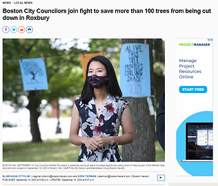 City Counselor Michelle Wu speaks in support of the trees along Melnea Cass Boulevard at a call-to-action event