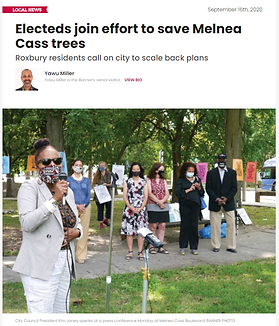 City Counselor Kim Janey speaks in support of the trees along Melnea Cass Boulevard at a call-to-action event
