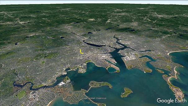 Google Earth virtual tour of Melnea Cass Boulevard from an aerial perspective