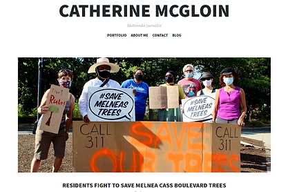 """A group of people stand behind a large sign that reads """"Save our trees"""""""