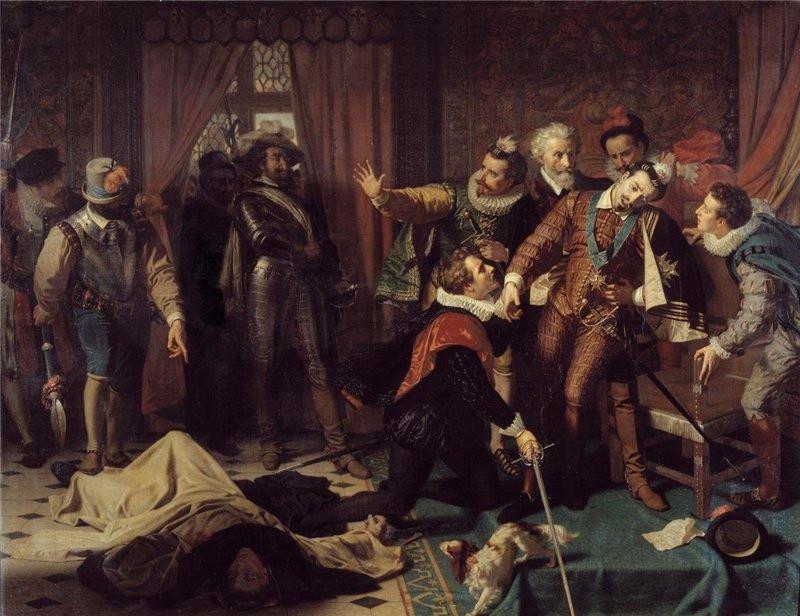 Assassinat d'Henri III, avec, à ses pieds, son petit chien