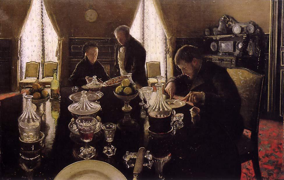 Le déjeuner, réalisé par Gustave Caillebotte au cours d'un repas familial avec sa mère et son frère Martial