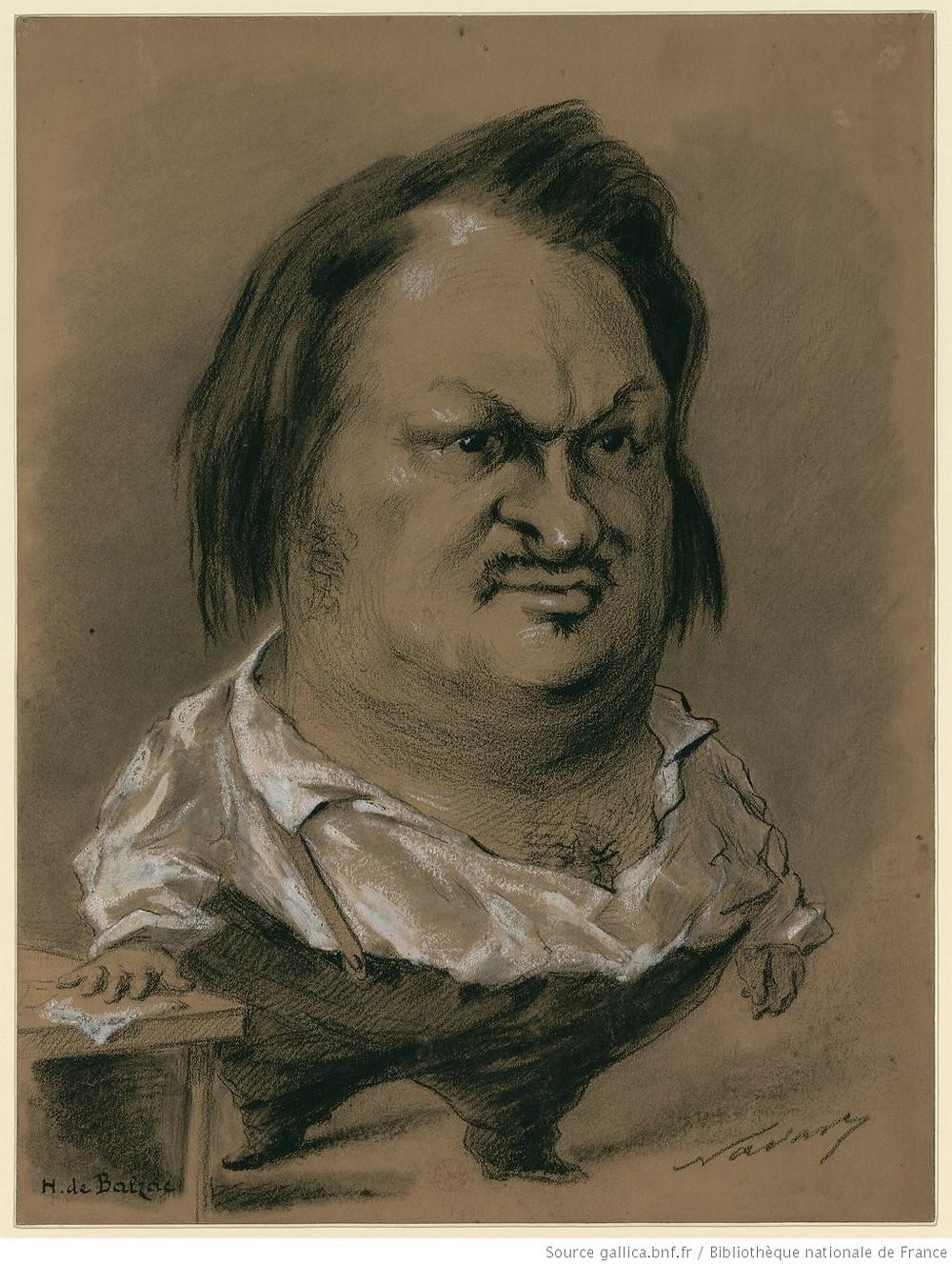 H. de Balzac : [caricature, en pied, la main posée sur une table] : [dessin] / Nadar