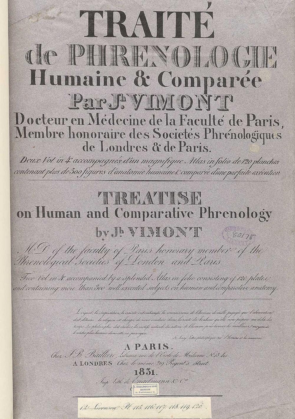 Traité de phrénologie par Vimont