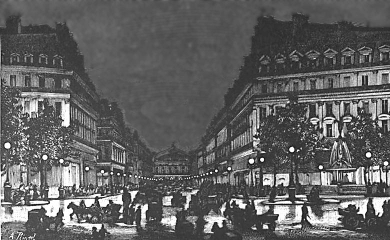 Allées de l'opéra éclairées en 1878 à Paris