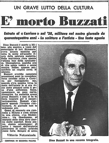 La une du Corriere della Sera à la mort de Buzzati