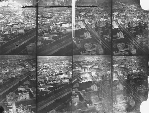 Vue aérienne du quartier de l'Etoile, tirage d'après négatif verre au collodion humide 24 x 30 cm, 16 juillet 1868.