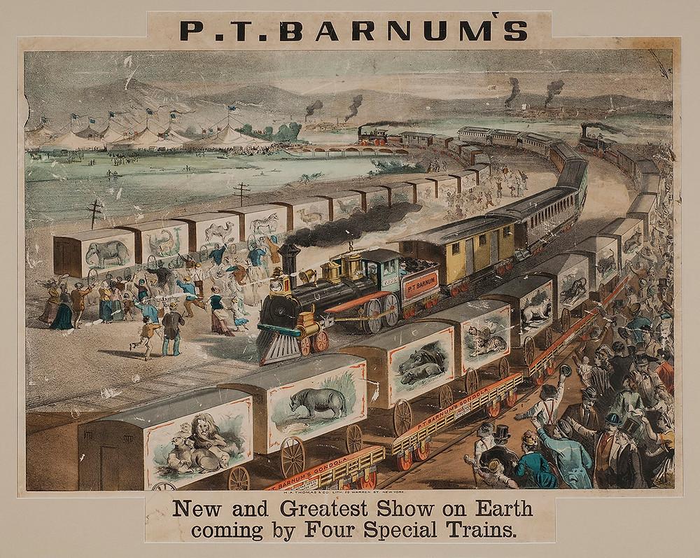 Quatre trians pour acheminer les animaux du plus grand show de la terre, le P.T Barnum.